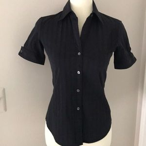 Theory Aniston Luxe Black Button Up Shirt Size P